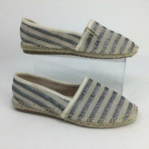 Espadrille Slip On Shoe Canvas Silver Stripe 6.5